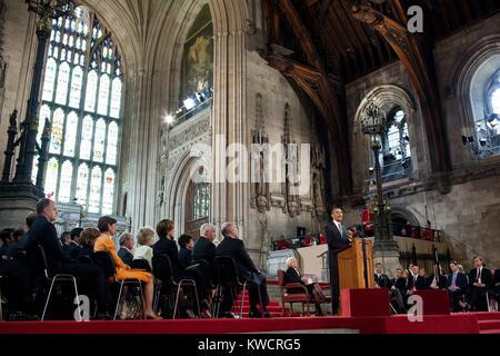 Le président Barack Obama parle aux membres des deux Chambres du Parlement à Westminster Hall. Londres, Photo Stock