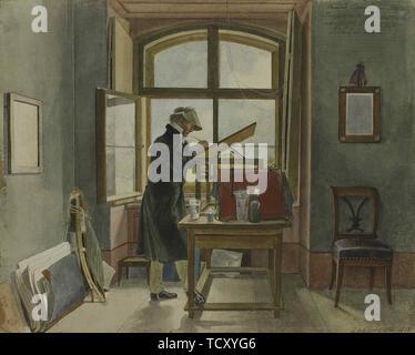 Johann Christoph Erhard dans son studio, 1818. On trouve dans la Collection de l'État A. Musée des beaux-arts Pouchkine, Moscou. Photo Stock