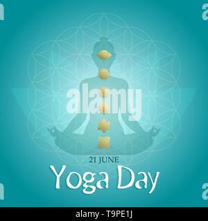Carte de souhaits Jour Yoga illustration pour l'exercice de méditation concept avec personne d'ossature dans lotus constituent et de chakra d'or des icônes. Photo Stock