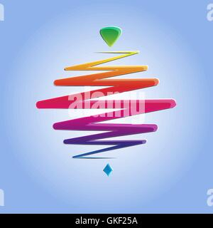 Whirligig couleur moderne, sur un fond abstrait. Whirlabout rapide. Peg-lumineux haut. Vector illustration. Photo Stock
