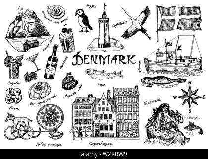 Les symboles du Danemark dans un style vintage. Croquis rétro avec signes traditionnels. La culture scandinave, national in pays européen. Homes Photo Stock