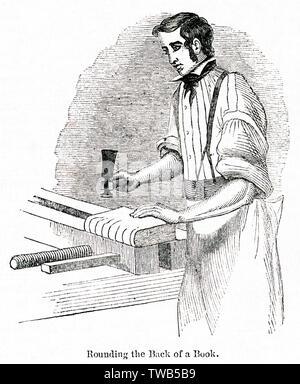 Scène dans un atelier de reliure (homme en arrondissant le dos d'un livre), Westley et Clark, cordonnier rangée, ville de Londres. Date: 1842 Photo Stock