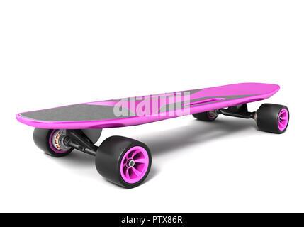 Skateboard électrique sur blanc. 3D illustration Photo Stock