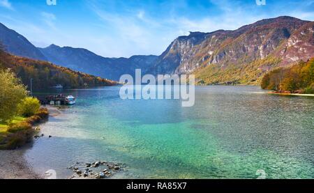 Le lac de Bohinj, parc national du Triglav, en Slovénie Photo Stock