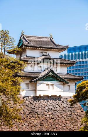 Tour de garde, le palais impérial, Tokyo, Japon Photo Stock