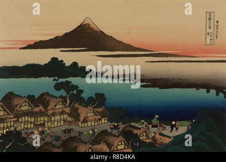 """L'aube à Isawa dans la province de Kai (à partir d'une série """"36 vues du Mont Fuji""""), 1830-1833. Collection privée. Photo Stock"""
