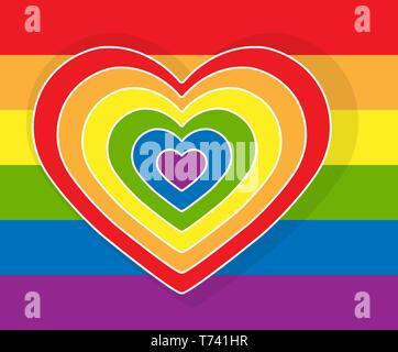 Tout son cœur se compose de plusieurs cœurs en couleurs LGBT sur un fond arc-en-ciel Photo Stock