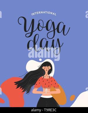 Journée Internationale de Yoga illustration de femme en posture de l'arbre pour la méditation, la santé et la forme physique. Photo Stock