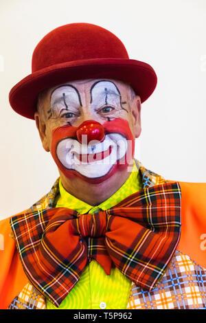 L'Angleterre, Londres, l'Assemblée annuelle de l'Église au service de clowns Grimaldi All Saints Church, West Bay, Clown Portrait Photo Stock