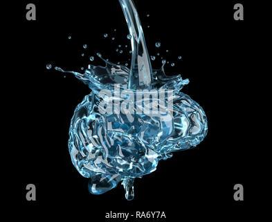 Le cerveau est rempli d'eau.3D illustration Photo Stock