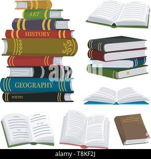 Pile de livres pour l'amateur de littérature. Encyclopédies ouvertes pour la lecture. Disposé tête-bêche. Objet dans un style contemporain. Vector illustration pour les affiches. Photo Stock