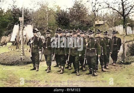 Les champs de tir en Allemagne, Schützen-(Füsilier-)Regiment Prinz Georg (Königlich Saxon) n° 108, 1906, Dresde, retour sur l'Schießstande vom, Königlich Saxon Schützen Regiment, Photo Stock