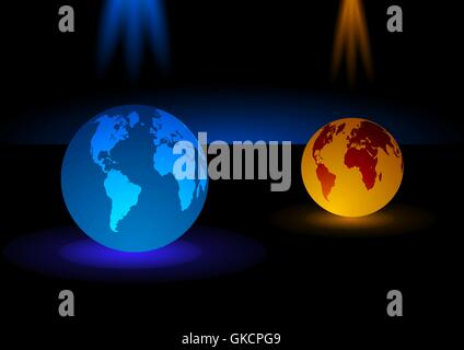 Verre moderne en bleu et orange fond globe, vector illustration Photo Stock
