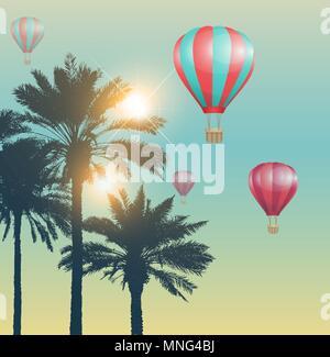 Billet d'arrière-plan avec des ballons d'air rouge et palmiers Photo Stock