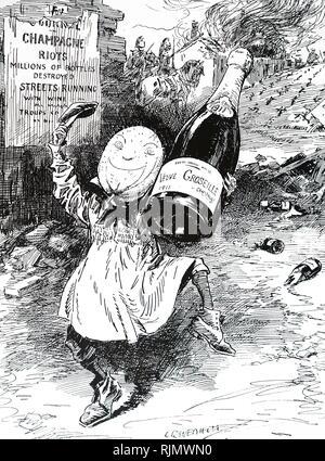 Caricature montrant les émeutes dans la région Champagne. Les émeutes de Champagne 1910 et 1911 résulte d'une série de problèmes rencontrés par les viticulteurs de la région de Champagne de France. Il s'agit notamment de quatre années de pertes de récoltes désastreuses, l'infestation des poux de phylloxéra (qui a détruit 15 000 acres (6 100 ha) de vignes cette année seulement), le faible revenu et la croyance que les marchands de vin de raisin à l'aide de l'extérieur de la région Champagne. En date du 20e siècle Photo Stock