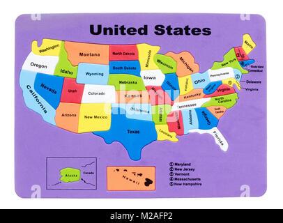 La carte des USA en caoutchouc Photo Stock