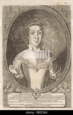 Anna Radziwill (Sadowski). À partir de: Icones Familiae Ducalis Radivilianae, 1758. Collection privée. Photo Stock