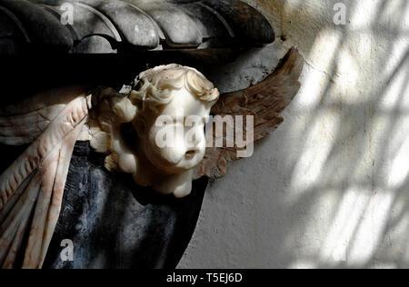 Chérubin de pierre intérieur de l'église, oxborough, Norfolk, Angleterre Photo Stock