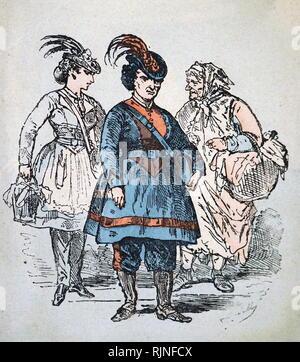 À la main, gravure représentant une femme le camarade s'adressant aux membres de la commune au Club Eglise. En date du 19e siècle Photo Stock