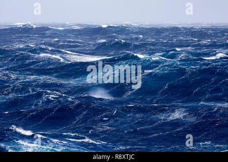 La France, de l'Océan Indien, Finland, violente tempête, échelle de Beaufort 10 avec rafales à 11 dans l'quarantièmes rugissants, photo prise à bord du Marion Dufresne (navire de Terres Australes et Antarctiques Françaises) en cours d'Îles Crozet aux îles Kerguelen Photo Stock