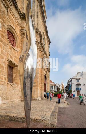 Plaza de San Pedro Claver, la vieille ville, Carthagène, Colombie Photo Stock