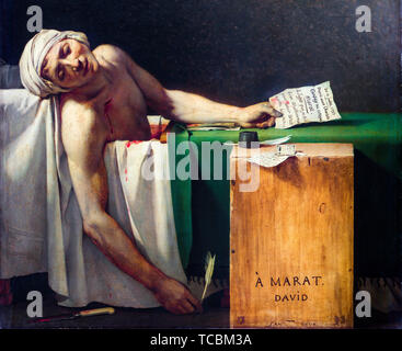 Jacques Louis David, La Mort de Marat, peinture (détail), 1793 Photo Stock