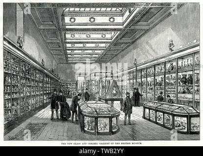 Nouveau verre et céramique galerie du British Museum. Date: 1888 Photo Stock