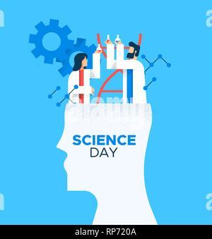 Illustration de carte de la Journée mondiale de la Science de l'homme et de la femme les scientifiques de télévision cartoon style moderne pour l'éducation scientifique concept. Photo Stock
