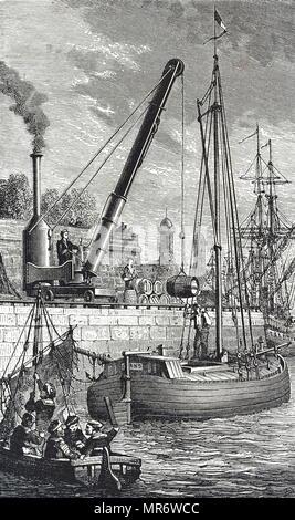 Gravure représentant une grue à vapeur utilisé pour transporter des marchandises des bateaux. En date du 19e siècle Photo Stock