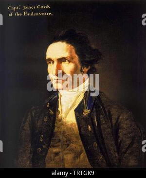 Le capitaine James Cook (1728-1779), portrait, vers 1775 Photo Stock