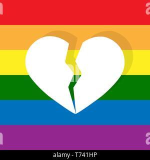 Split blanc coeur sur la couleur de fond de la communauté LGBT Photo Stock