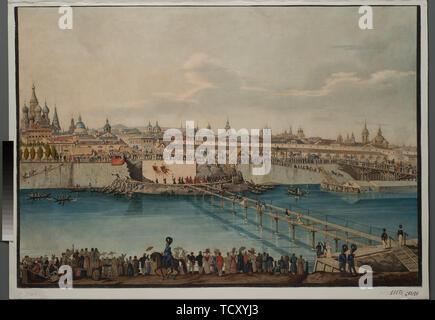Cérémonie de pose de la pierre angulaire du pont Moskvoretsky à Moscou, 1830. On trouve dans la collection de musée d'histoire de l'État de Moscou. Photo Stock
