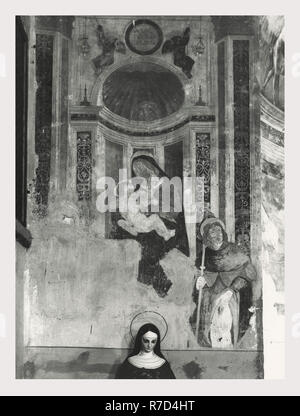 Latium Viterbo Vitorchiano Madonna di San Nicola, c'est mon l'Italie, l'Italie Pays de l'histoire visuelle, trois vues extérieures de l'église du 16ème c. une couverture complète de l'intérieur de l'église, y compris les autels, nef et de nombreuses fresques de l'école viterbese Photo Stock