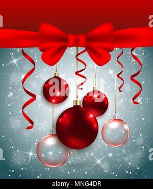 Noël arrière-plan vectoriel avec arc rouge et décorations. Carte de vœux de nouvel an. Photo Stock