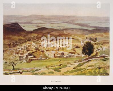 Aquarelle de Stanley Inchbold, représentant Nazareth en Palestine 1906 Photo Stock