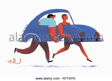 Homme et femme transportant voiture sans roues Photo Stock