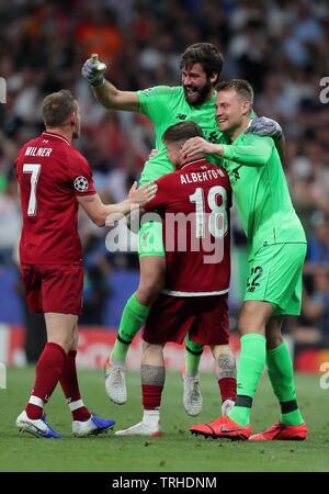 JAMES MILNER, ALBERTO MORENO, ALISSON BECKER, SIMON MIGNOLET, Tottenham Hotspur FC V LIVERPOOL FC finale de Champions League 2019, 2019 Photo Stock