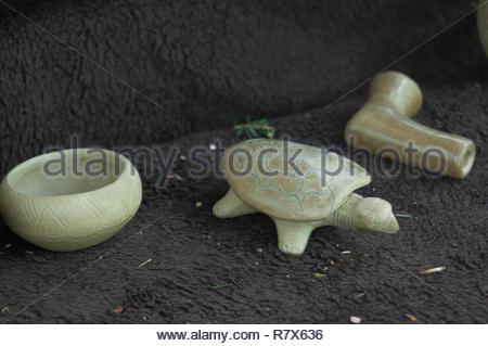Stonecarvings Cherokee, Qualla Réservation, Caroline du Nord. Photographie numérique Photo Stock