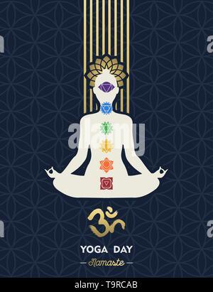 L'illustration pour la journée Yoga Méditation spéciale vacances. Femme lotus posent avec des icônes et chakra symbole om. Photo Stock