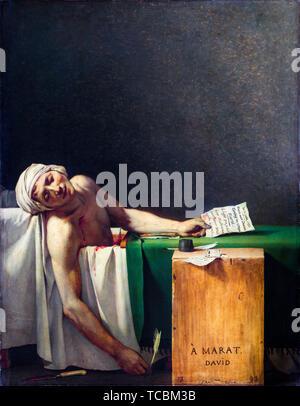Jacques Louis David, La Mort de Marat, peinture, 1793 Photo Stock