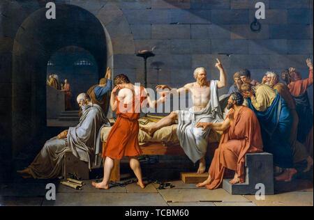 Jacques Louis David, la mort de Socrate, peinture, 1787 Photo Stock