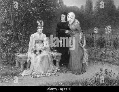La pièce de Shakespeare Richard II, Isabelle, la reine et ses dames en attendant à l'extérieur dans le jardin Photo Stock