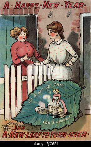 Happy New Year greetings postcard - tourner la page et faire un peu de lavage pour un changement! Plutôt que le ralenti chit chat sur le pas de la porte, obtenez le fait laver...!!! Photo Stock
