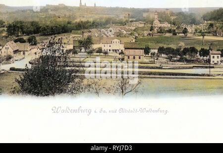 Bahnhof Waldenburg (Sachs), églises à Waldenburg (Saxe), Waldenburg (Saxe), 1899, Landkreis Zwickau, Waldenburg, mit Altstadt, Allemagne Photo Stock