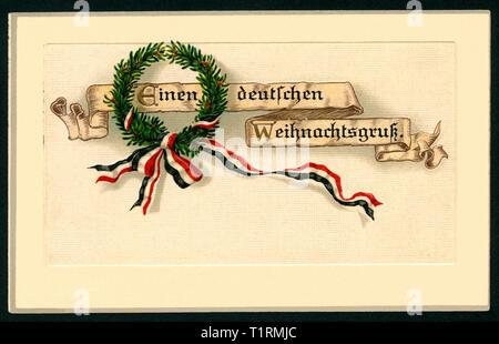 Allemagne, Bade-Wurtemberg, Rastatt, LA PREMIÈRE GUERRE MONDIALE, la propagande patriotique, carte postale de Noël avec le texte: 'Einen deutschen Weihnachtsgruß' (un message d'accueil de Noël allemand), ainsi qu'une guirlande de sapin annonce un noir-blanc-rouge ruban, carte postale a été envoyé le 23. 12. 1915. , Additional-Rights Clearance-Info-Not-Available- Photo Stock