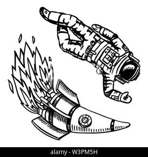 Vaisseau et spaceman, l'astronomie au style vintage. L'espace et le cosmonaute, astronaute et fusée. Faites à la main en rétro style doodle. Photo Stock