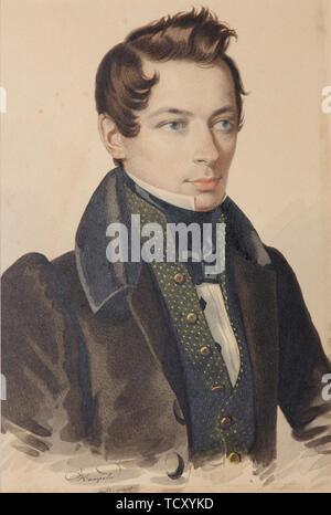Portrait de Sergueï Fiodorovitch Plautin (1798-1881), années 1830. On trouve dans la collection de musée Russe, Saint-Pétersbourg. Photo Stock