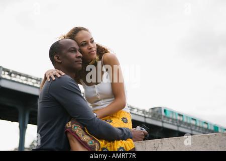 African couple hugging Photo Stock