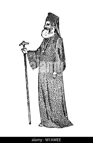 Prêtre en travail de bureau de l'habillement. L'archevêque d'Athènes et de toute la Grèce. Dans l'évêque homme grec vintage style. Gravé à la main vintage esquisse pour poster Photo Stock