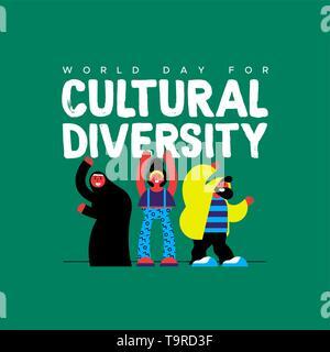 La diversité culturelle jour carte de souhaits illustration. Heureux ami group en style moderne et coloré avec femme musulmane pour divers concept communautaire. Photo Stock